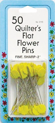 50 Quilter's Flat Flower Pins 2 in