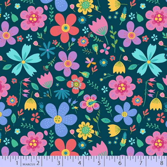 Multi floral on navy