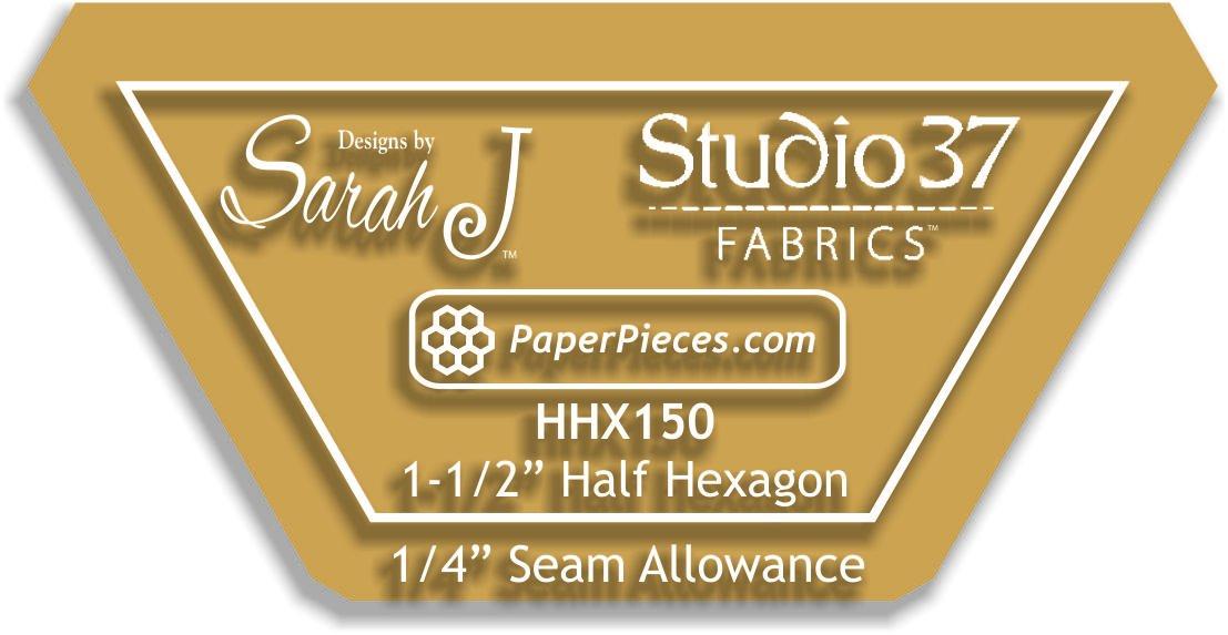 Half hex 1 1/2 acrylic template