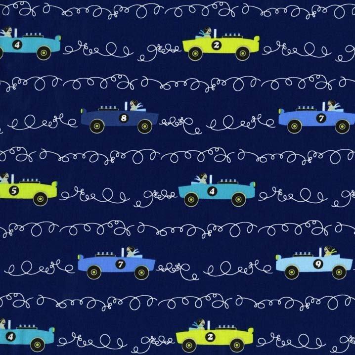 Scribble Cars for Michael Miller Fabrics~DC6097 Navy D~