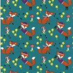 Lil' Foxy on Flannel for Michael Miller Fabrics~FD6947-Teal-D~