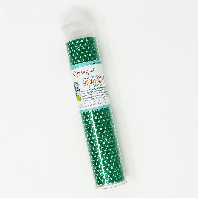 Applique Glitter Sheets Green Polka Dot 19-1/2in x 7-1/2in