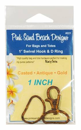 1 Inch Swivel Hook and D Ring Antique Gold