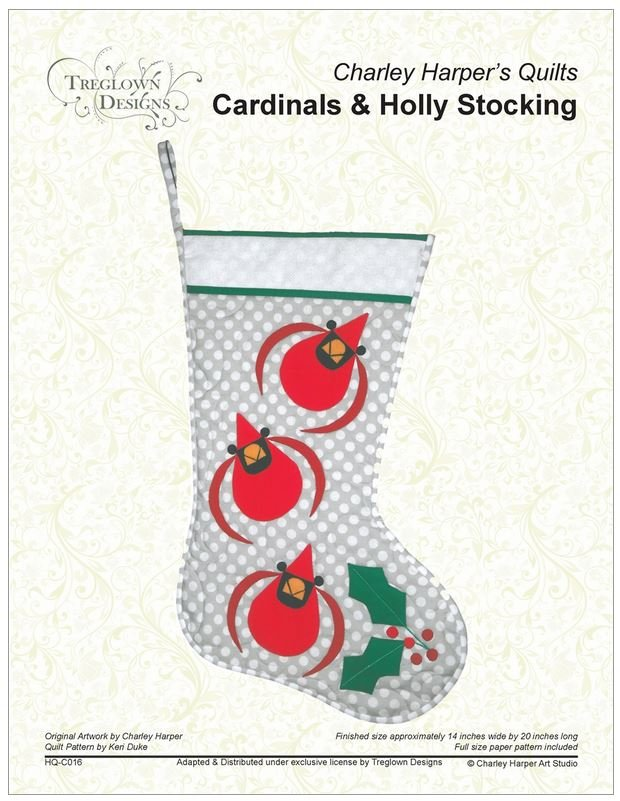 Charley Harper Cardinal & Holly Stocking