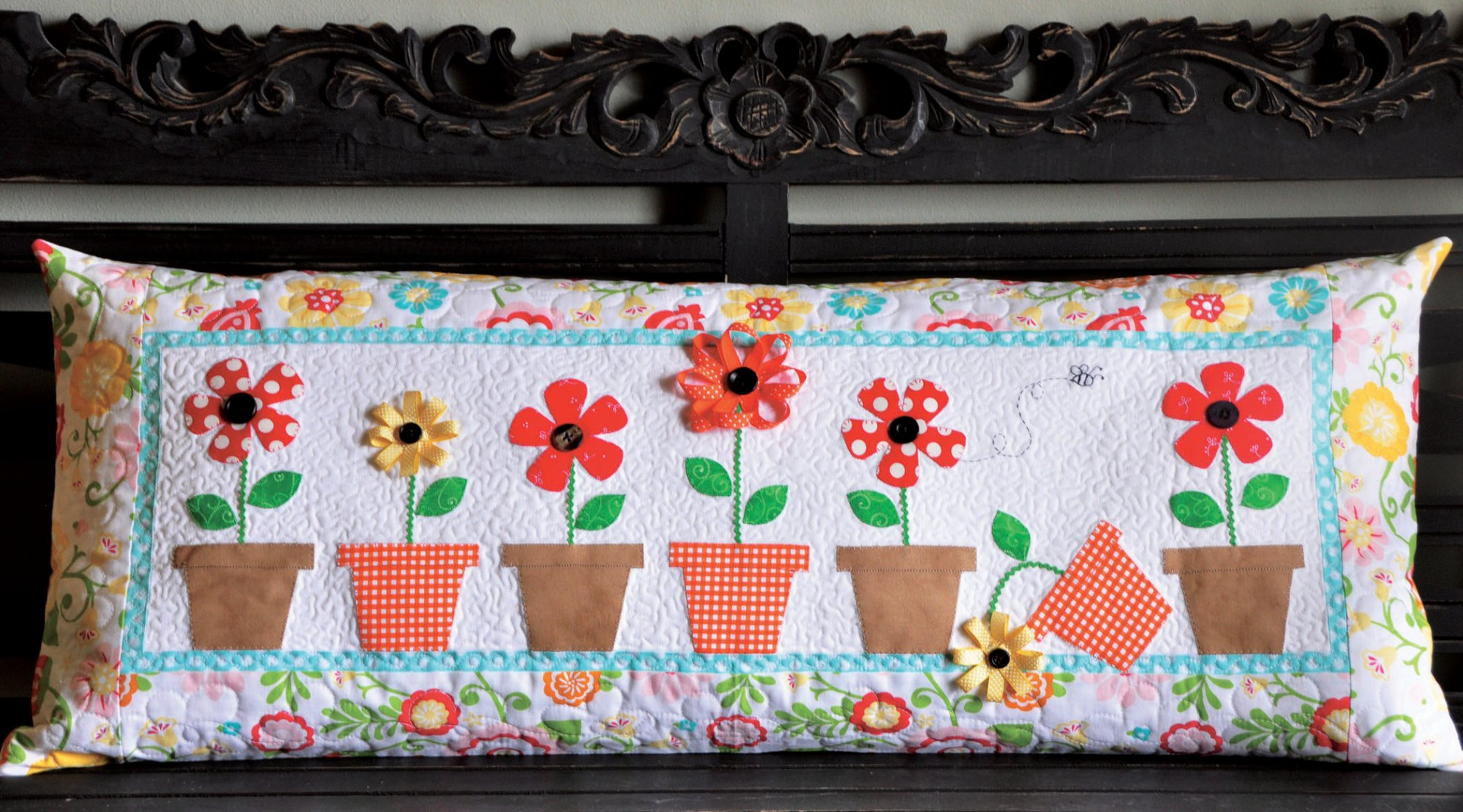 Kimberbell May Flowers Bench Pillow (Machine Embroidery)