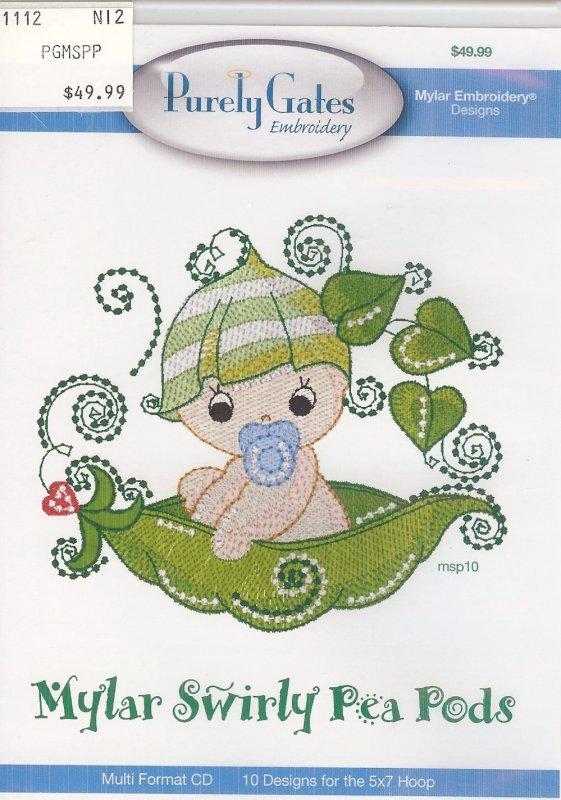 Purely Gates Embroidery Mylar Swirly Pea Pods