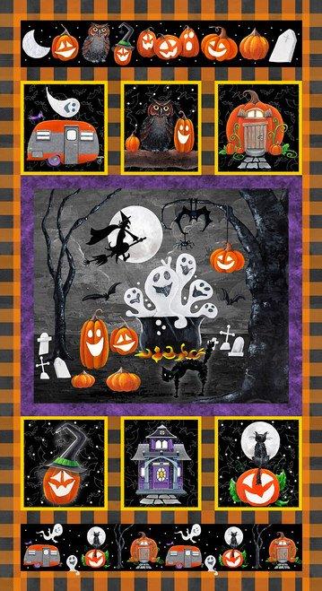 Blank Quilting Booville Halloween Panel 1031PG-33 Orange Glow in the Dark