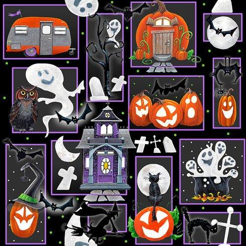 Blank Quilting Booville Halloween 1032G-99 Black Glow in the Dark