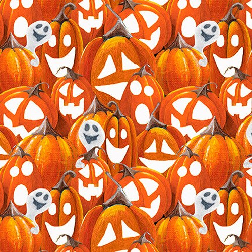 Blank Quilting Booville Halloween Pumpkins 1033G-33 Orange Glow in the Dark