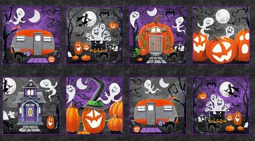 Blank Fabric Booville Halloween Blocks 1034G-99 Black Glow in the Dark