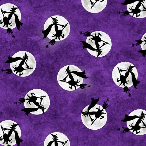 Blank Fabric Booville Flying Witches 1035G-55 Purple Glow in the Dark