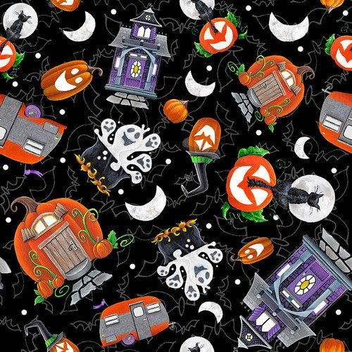 Blank Fabric Booville Tossed Halloween Elements 1037G-99 Black Glow in the Dark