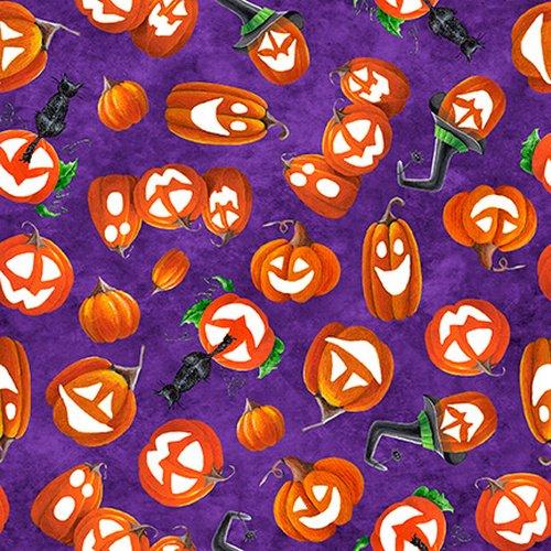 Blank Fabric Booville Tossed Pumpkins 1039G-55 Purple Glow in the Dark