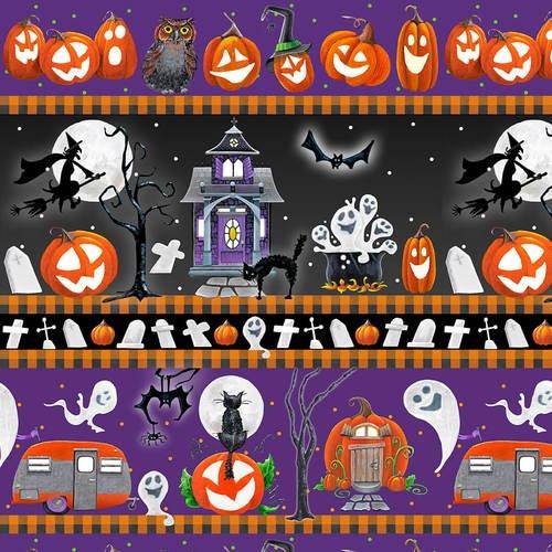Blank Fabric Booville Halloween Stripe 1040G-55 Purple Glow in the Dark
