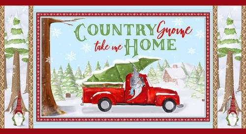Blank Fabric Gnoming Through the Snow Red Truck Panel B1097-11 Lt. Blue