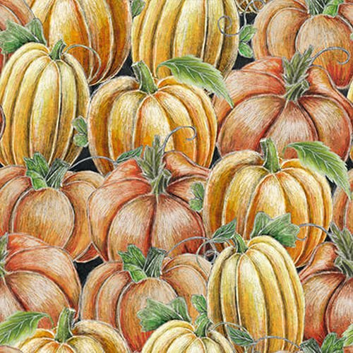 Blank Fabrics Rake & Bake Pumpkin Collage 1123-33 Orange