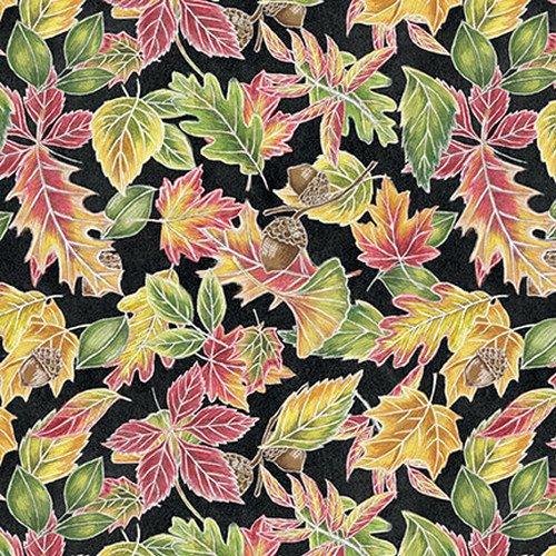Blank Fabrics Rake & Bake Leaves 1128-99 Black