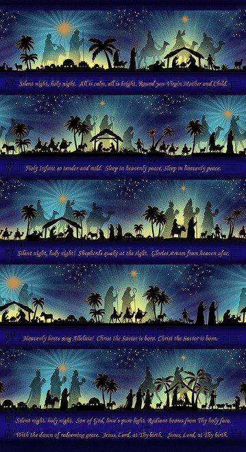 Henry Glass Silent Night Metallic Silent Night Song Panel 2506PM- 77 Midnight