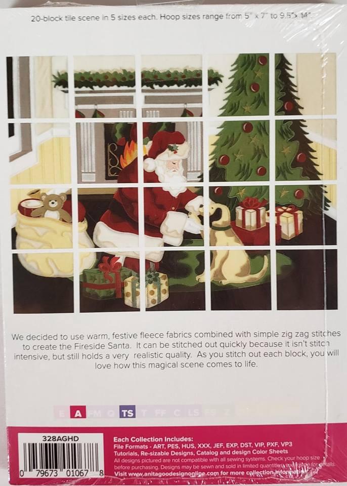 Anita Goodesign Full Collection Fireside Santa Tile Scene