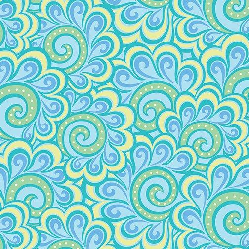 Contempo Free Motion Fantasy 05446-24 Swirl Feather Aqua