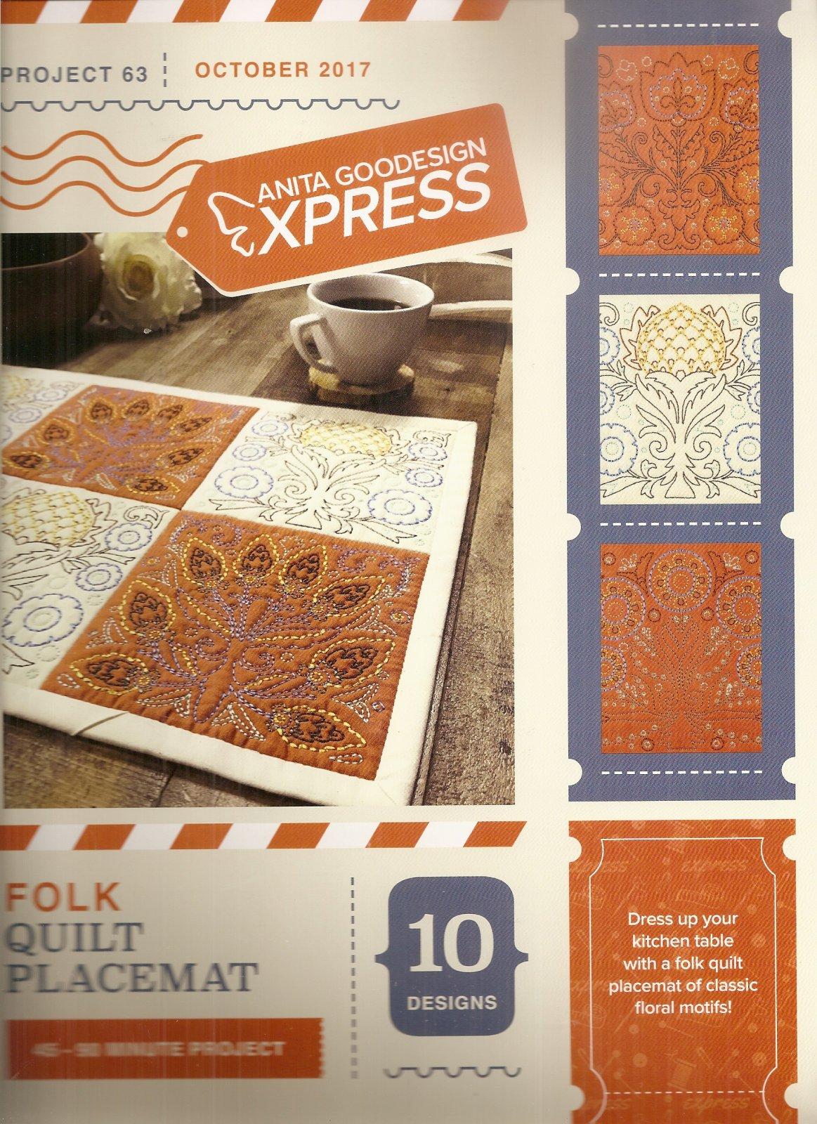 Anita Goodesign Express Folk Quilt Placemat