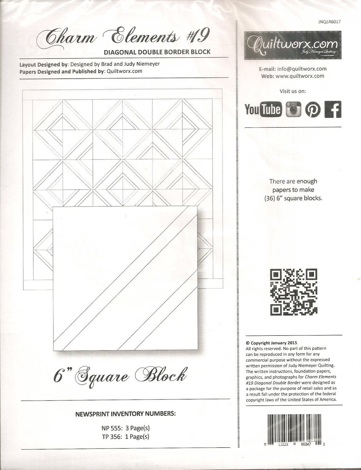 Charm Elements #19 Diagonal Double Border Block
