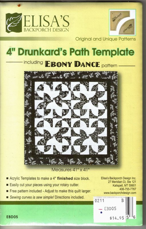 Elisa\'s Backporch - 4 inch Drunkard\'s Path Template