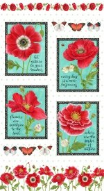 Henry Glass Poppy Perfection Panel 1195P 8