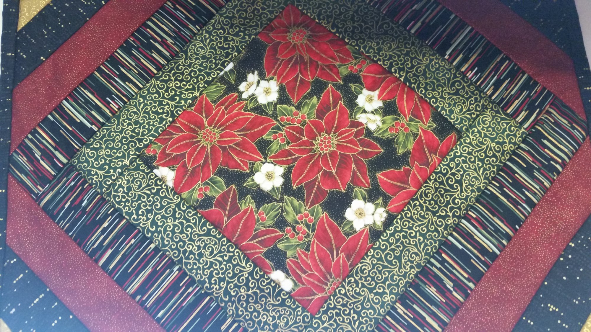 Poinsettia Quilt As You Go Placemats Kit