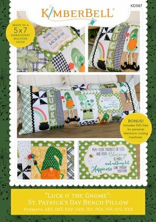 Kimberbell Luck o' Gnome St. Patrick's Day Bench Pillow