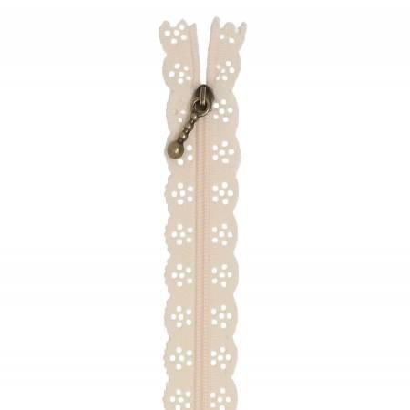Kimberbellishments 14-Inch Lace Buttermilk Zipper