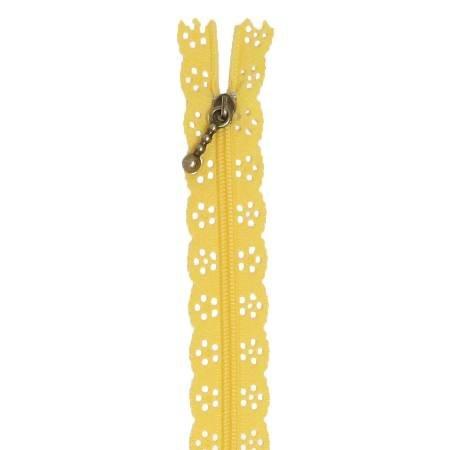 Kimberbellishments 14-Inch Lace Canary Yellow Zipper