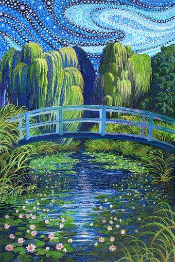 Northcott Water Garden Panel DP21917 44 Blue