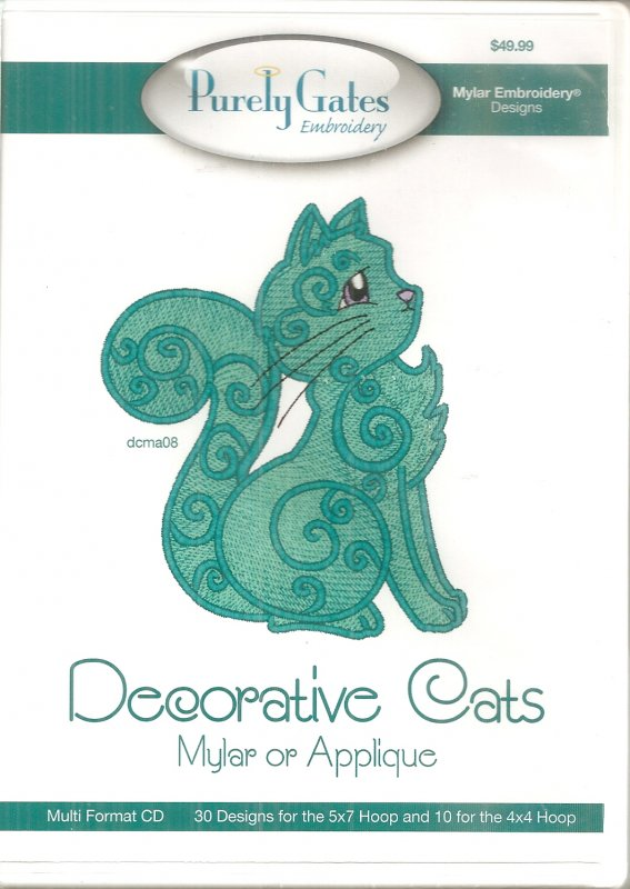 Purely Gates Embroidery Mylar or Applique Decorative Cats