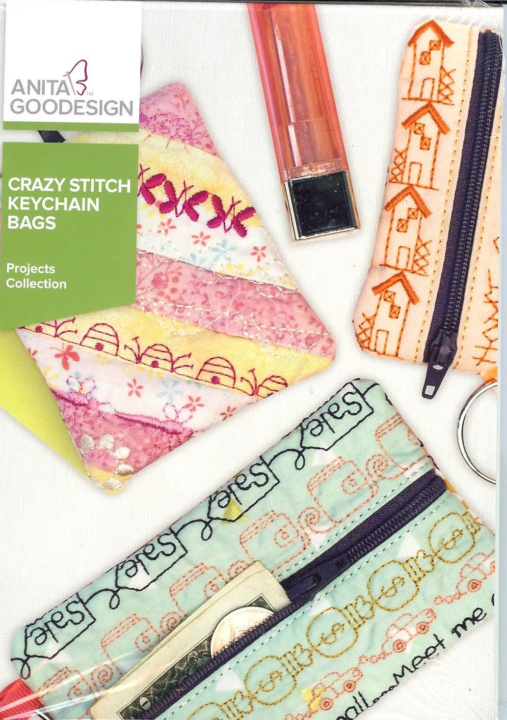 Anita Goodesign Projects Crazy Stitch Keychain Bags