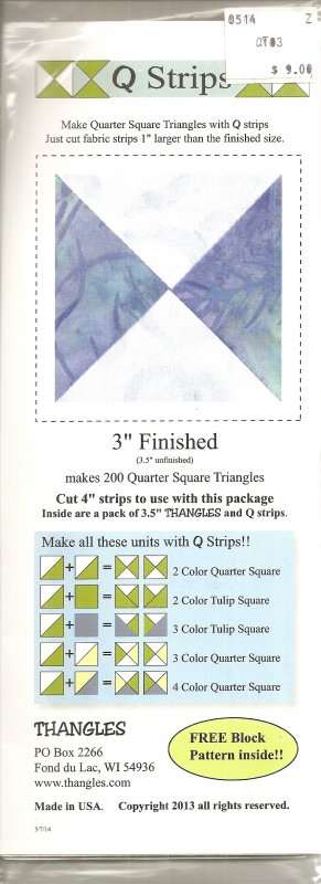 Q Strips 3 inch Quarter Squares