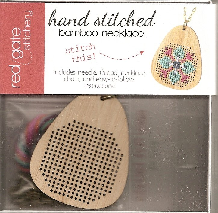 Hand Stitched Bamboo Necklace Pear