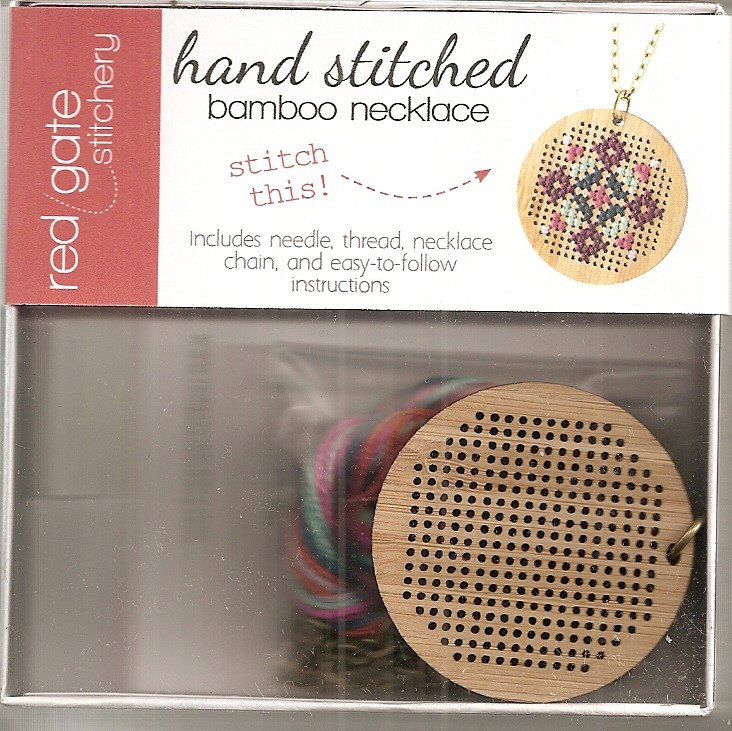 Hand Stitched Bamboo Necklace Round