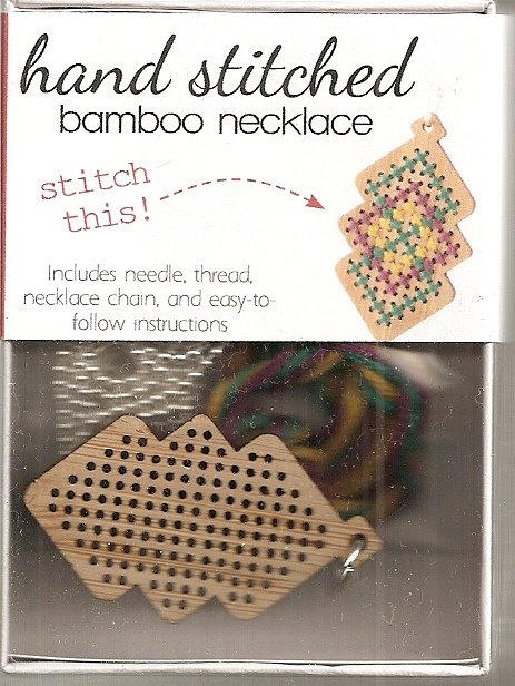 Hand Stitched Bamboo Necklace Interlocking Diamonds
