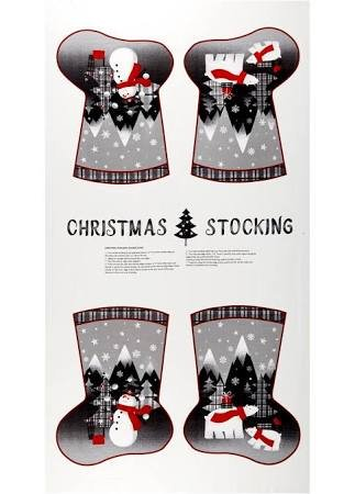 Paintbrush Studio Red + Grey Christmas Panel Stocking 65101