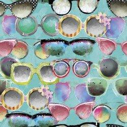 Three Wishes Fabric Sassy Animals 13794 Turq
