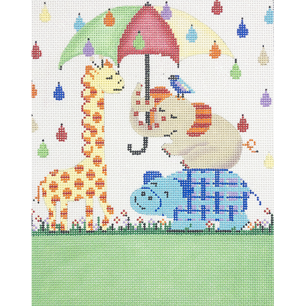 UMBRELLA AND ANIMALS BIRTH ANNOUNCEMENT