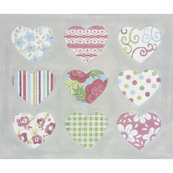 PATTERNED HEARTS ON GRAY
