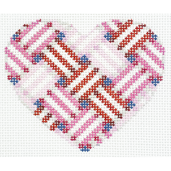 LATTICE STRIPES HEART PINK RED