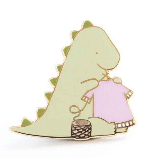 ENAMEL PIN Dinosaur Knitting