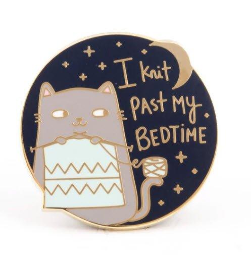 ENAMEL PIN I Knit Past My Bedtime