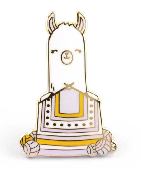 ENAMEL PIN Llama Knitting