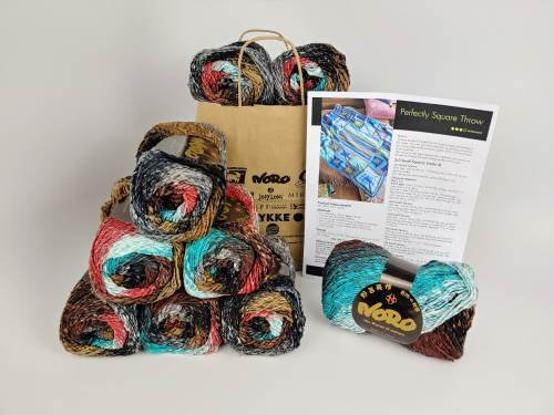 NORO PERFECTLY SQUARE THROW KIT (knit) - Drop Ship Only
