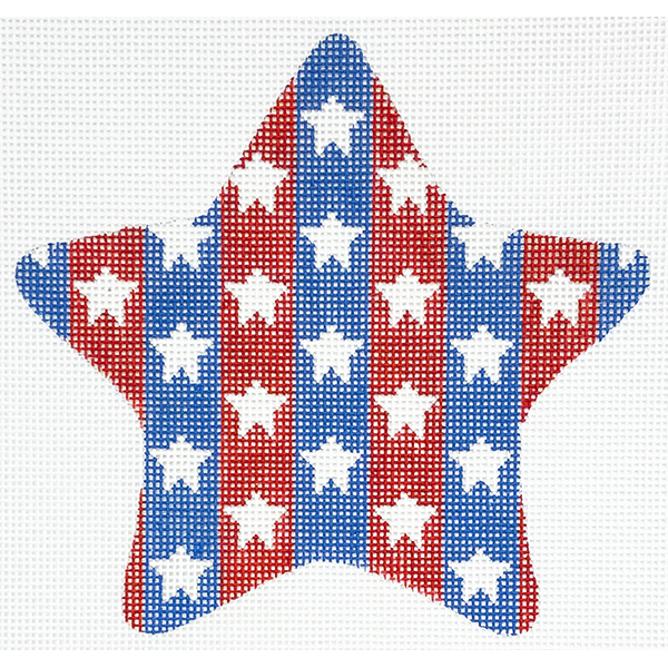 PATRIOTIC STAR WHITE STARS ON STRIPES