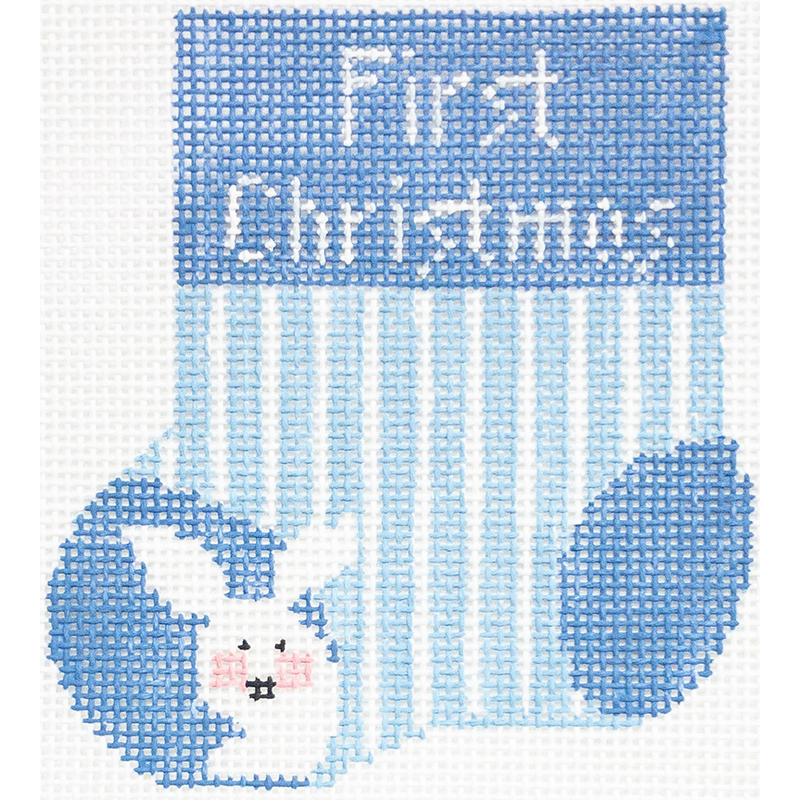 FIRST CHRISTMAS MINI SOCK - BLUE & WHITE